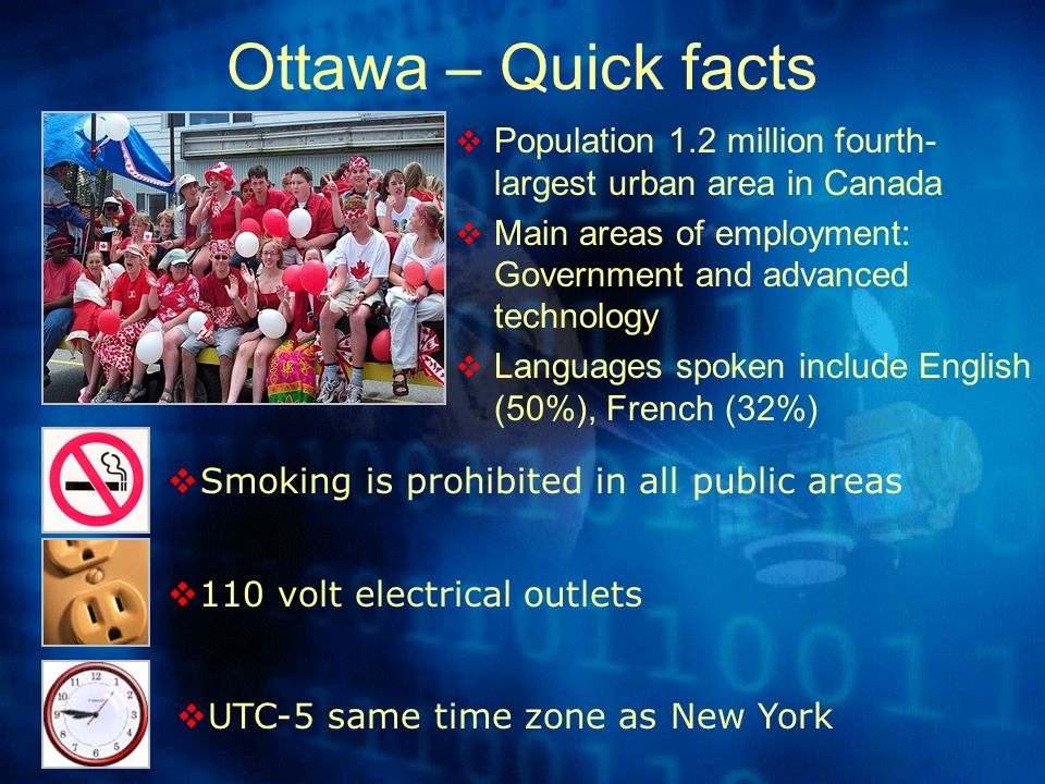 Ottawa – Quick facts Population 1.2 million fourth- largest urban area in Canada Main areas of employment: Government and advanced technology Languages spoken include English (50%), French (32%) Smoking is prohibited in all public areas 110 volt electrical outlets UTC-5 same time zone as New York