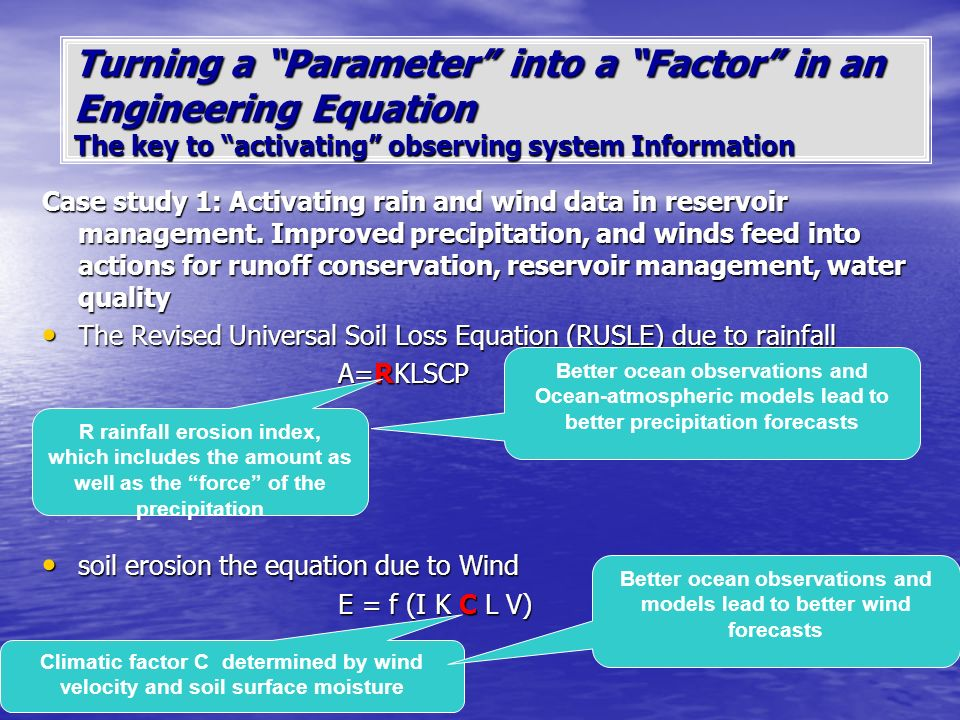 Turning a Parameter into a Factor in an Engineering Equation The key to activating observing system Information Case study 1: Activating rain and wind data in reservoir management.