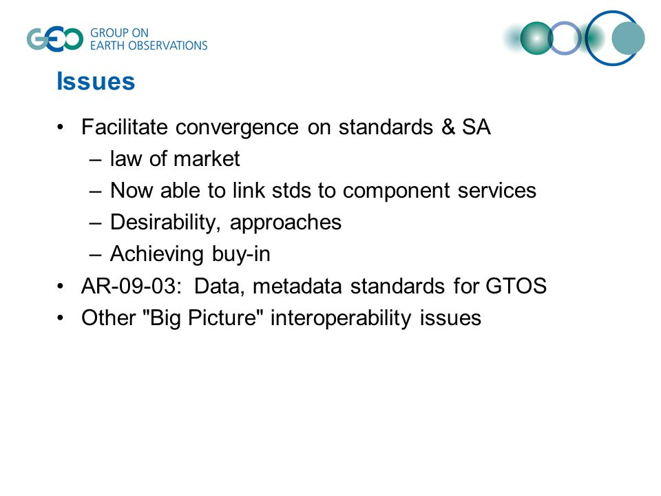 Issues Facilitate convergence on standards & SA –law of market –Now able to link stds to component services –Desirability, approaches –Achieving buy-in AR-09-03: Data, metadata standards for GTOS Other Big Picture interoperability issues