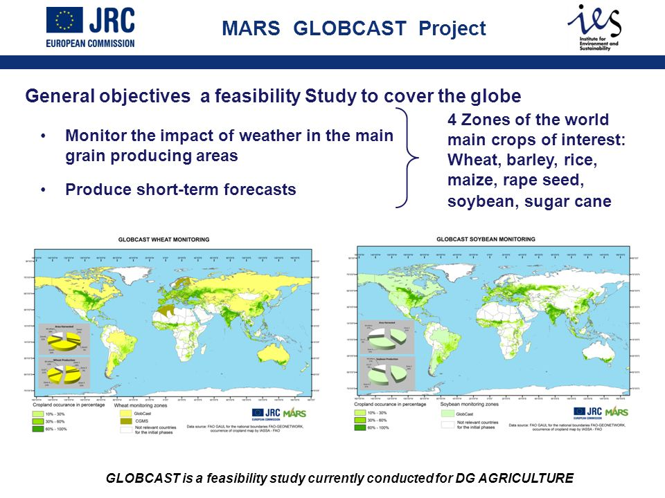 MARS GLOBCAST Project General objectives a feasibility Study to cover the globe Monitor the impact of weather in the main grain producing areas Produc