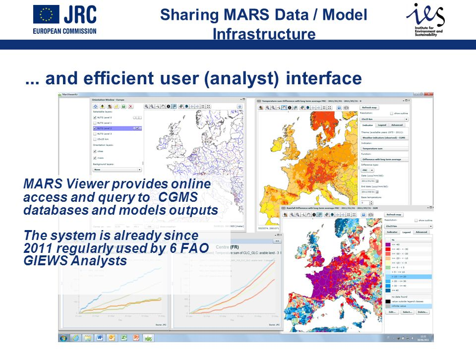 MARS Viewer provides online access and query to CGMS databases and models outputs The system is already since 2011 regularly used by 6 FAO GIEWS Analy