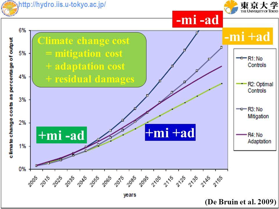 http://hydro.iis.u-tokyo.ac.jp/ (De Bruin et al. 2009) Climate change cost = mitigation cost + adaptation cost + residual damages -mi -ad +mi +ad -mi