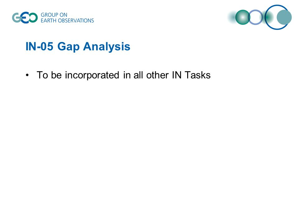 IN-05 Gap Analysis To be incorporated in all other IN Tasks