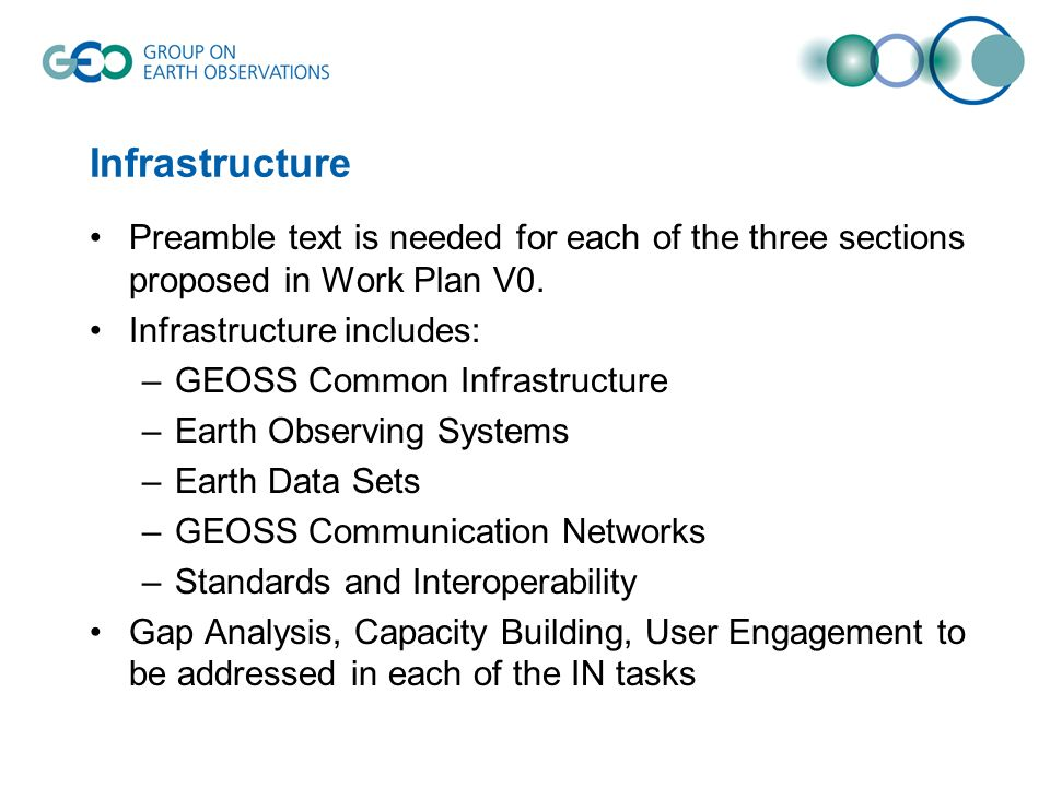 Infrastructure Preamble text is needed for each of the three sections proposed in Work Plan V0.