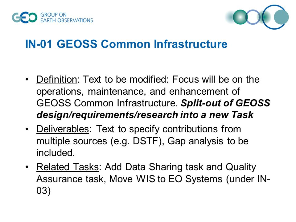 IN-01 GEOSS Common Infrastructure Definition: Text to be modified: Focus will be on the operations, maintenance, and enhancement of GEOSS Common Infrastructure.