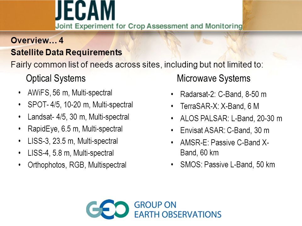 Future Enhancements Expanded Mission Database – add more missions for land imaging to support JECAM.