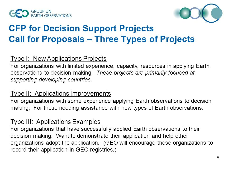 6 CFP for Decision Support Projects Call for Proposals – Three Types of Projects Type I: New Applications Projects For organizations with limited expe