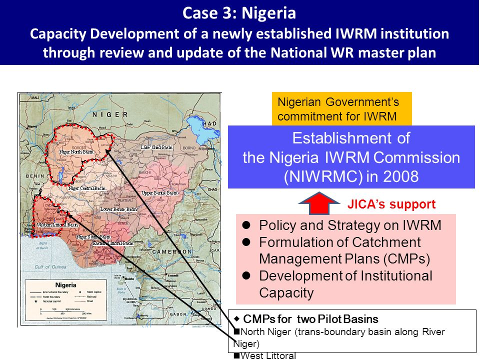 CMPs for two Pilot Basins North Niger (trans-boundary basin along River Niger) West Littoral Nigerian Governments commitment for IWRM Establishment of