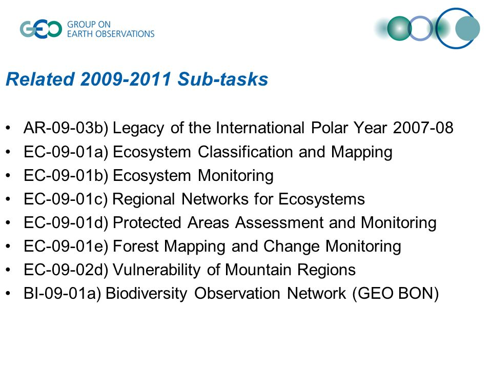 Related 2009-2011 Sub-tasks AR-09-03b) Legacy of the International Polar Year 2007-08 EC-09-01a) Ecosystem Classification and Mapping EC-09-01b) Ecosystem Monitoring EC-09-01c) Regional Networks for Ecosystems EC-09-01d) Protected Areas Assessment and Monitoring EC-09-01e) Forest Mapping and Change Monitoring EC-09-02d) Vulnerability of Mountain Regions BI-09-01a) Biodiversity Observation Network (GEO BON)
