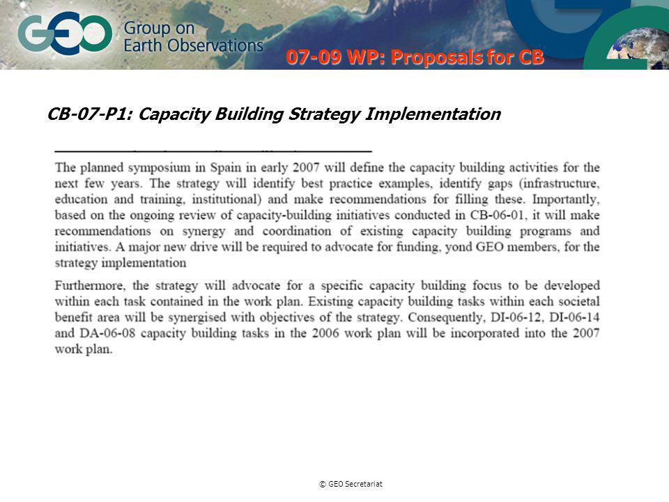 © GEO Secretariat CB-07-P1: Capacity Building Strategy Implementation WP: Proposals for CB
