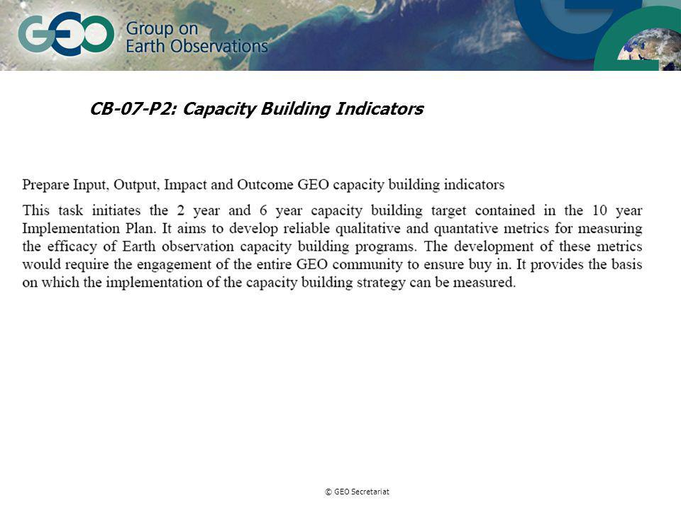 © GEO Secretariat CB-07-P2: Capacity Building Indicators