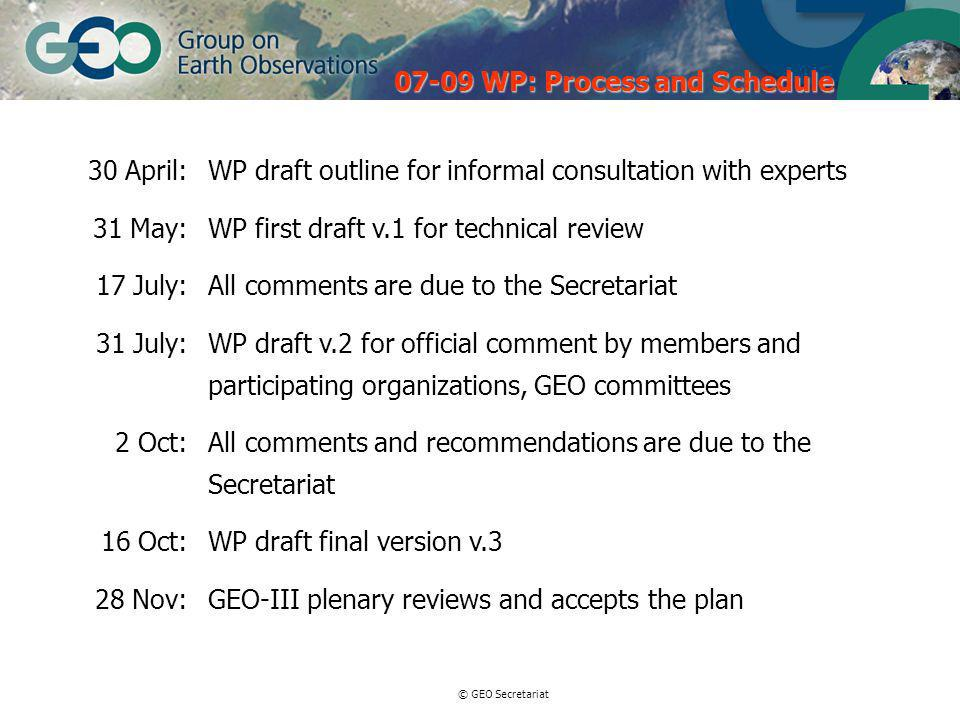 © GEO Secretariat 30 April:WP draft outline for informal consultation with experts 31 May:WP first draft v.1 for technical review 17 July:All comments are due to the Secretariat 31 July:WP draft v.2 for official comment by members and participating organizations, GEO committees 2 Oct:All comments and recommendations are due to the Secretariat 16 Oct:WP draft final version v.3 28 Nov:GEO-III plenary reviews and accepts the plan WP: Process and Schedule