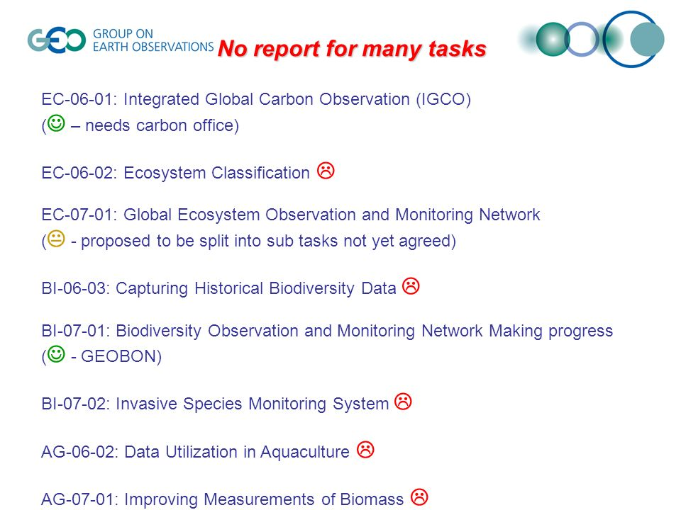 No report for many tasks EC-06-01: Integrated Global Carbon Observation (IGCO) ( – needs carbon office) EC-06-02: Ecosystem Classification EC-07-01: Global Ecosystem Observation and Monitoring Network ( - proposed to be split into sub tasks not yet agreed) BI-06-03: Capturing Historical Biodiversity Data BI-07-01: Biodiversity Observation and Monitoring Network Making progress ( - GEOBON) BI-07-02: Invasive Species Monitoring System AG-06-02: Data Utilization in Aquaculture AG-07-01: Improving Measurements of Biomass