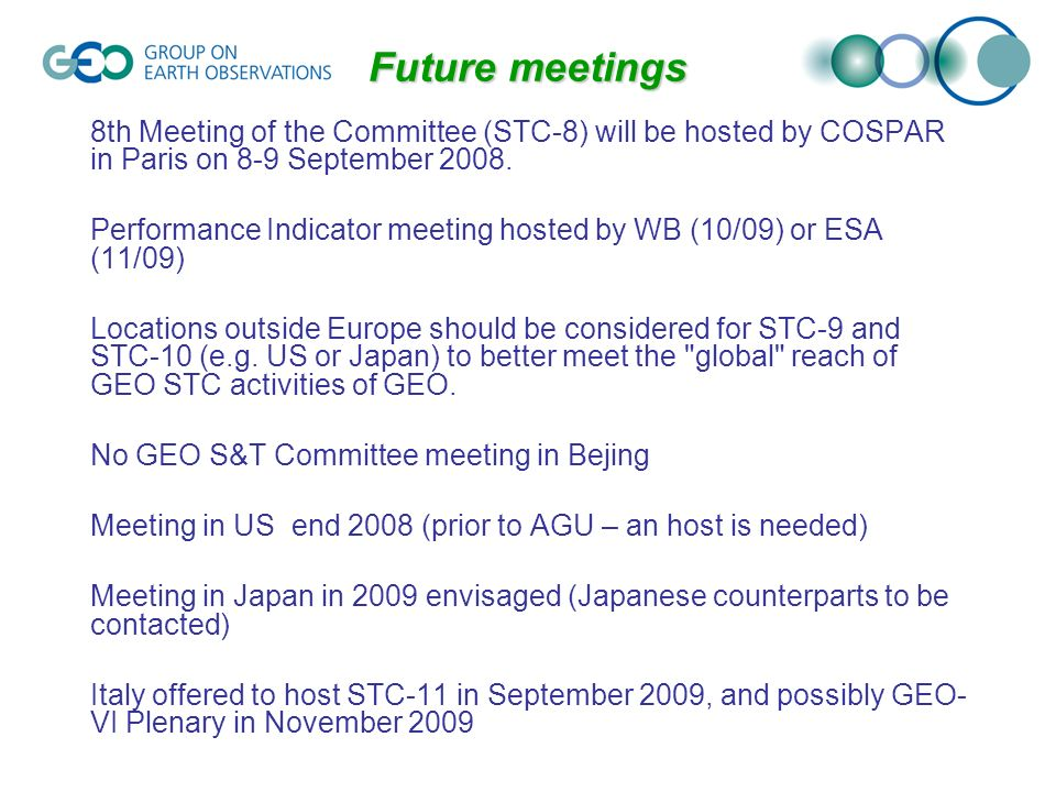 8th Meeting of the Committee (STC-8) will be hosted by COSPAR in Paris on 8-9 September 2008.