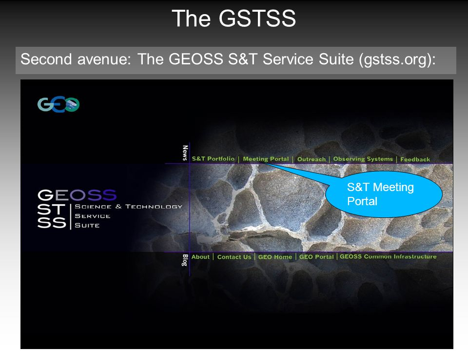 The GSTSS Second avenue: The GEOSS S&T Service Suite (gstss.org): S&T Meeting Portal