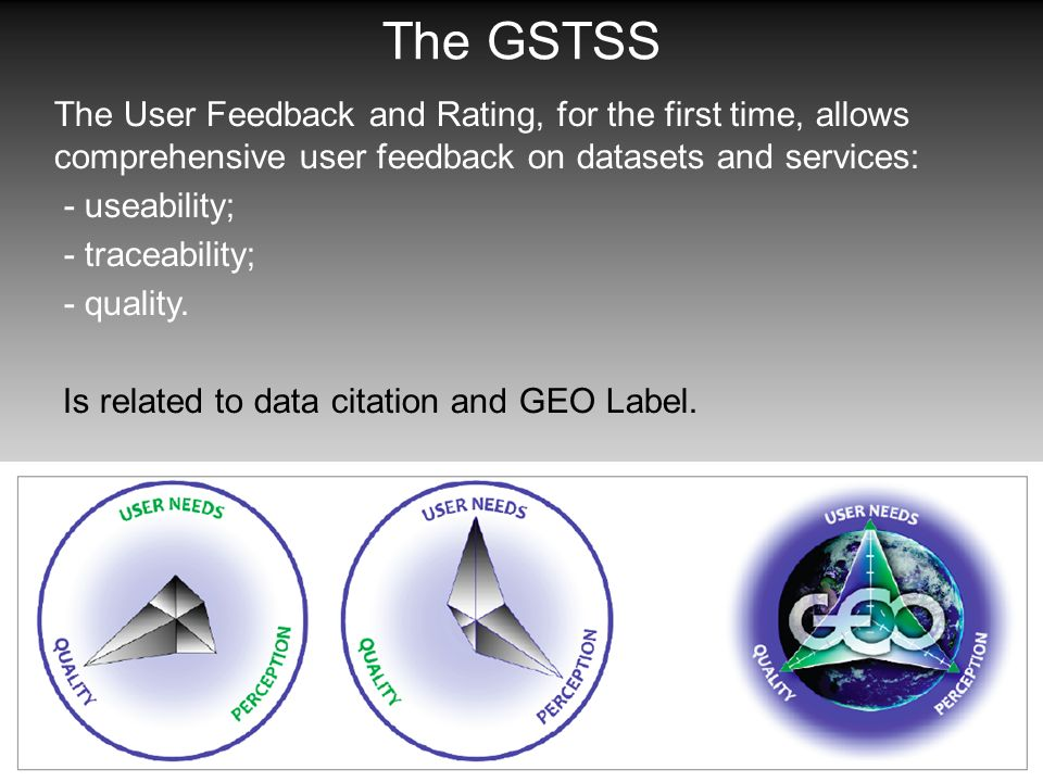 The GSTSS The User Feedback and Rating, for the first time, allows comprehensive user feedback on datasets and services: - useability; - traceability;