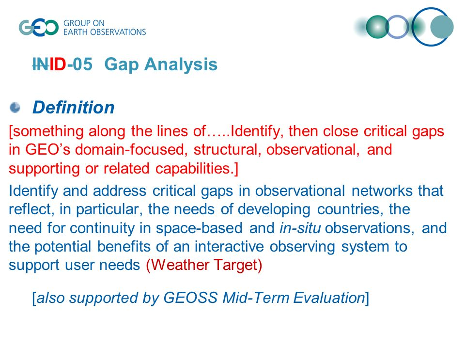 INID-05 Gap Analysis Definition [something along the lines of…..Identify, then close critical gaps in GEOs domain-focused, structural, observational, and supporting or related capabilities.] Identify and address critical gaps in observational networks that reflect, in particular, the needs of developing countries, the need for continuity in space-based and in-situ observations, and the potential benefits of an interactive observing system to support user needs (Weather Target) [also supported by GEOSS Mid-Term Evaluation]