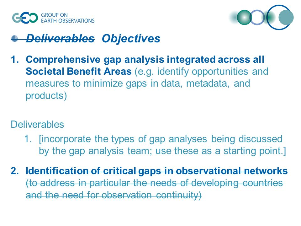 Deliverables Objectives 1.Comprehensive gap analysis integrated across all Societal Benefit Areas (e.g.