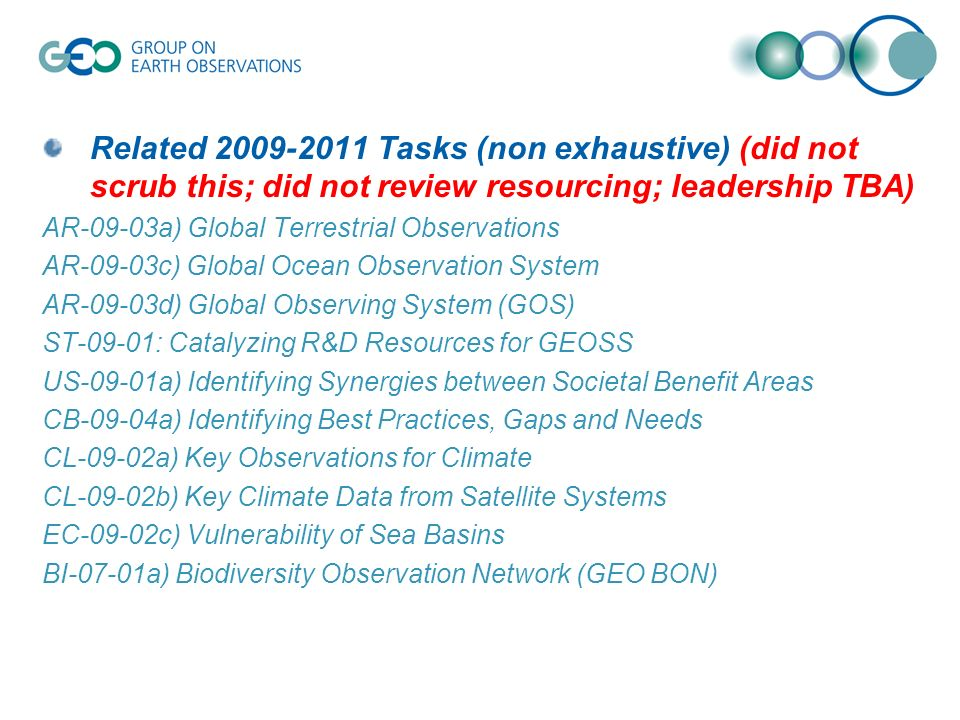 Related 2009-2011 Tasks (non exhaustive) (did not scrub this; did not review resourcing; leadership TBA) AR-09-03a) Global Terrestrial Observations AR-09-03c) Global Ocean Observation System AR-09-03d) Global Observing System (GOS) ST-09-01: Catalyzing R&D Resources for GEOSS US-09-01a) Identifying Synergies between Societal Benefit Areas CB-09-04a) Identifying Best Practices, Gaps and Needs CL-09-02a) Key Observations for Climate CL-09-02b) Key Climate Data from Satellite Systems EC-09-02c) Vulnerability of Sea Basins BI-07-01a) Biodiversity Observation Network (GEO BON)