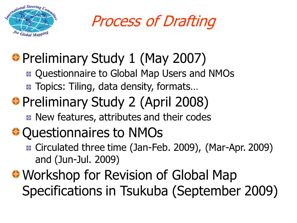 Preliminary Study 1 (May 2007) Questionnaire to Global Map Users and NMOs Topics: Tiling, data density, formats… Preliminary Study 2 (April 2008) New features, attributes and their codes Questionnaires to NMOs Circulated three time (Jan-Feb.