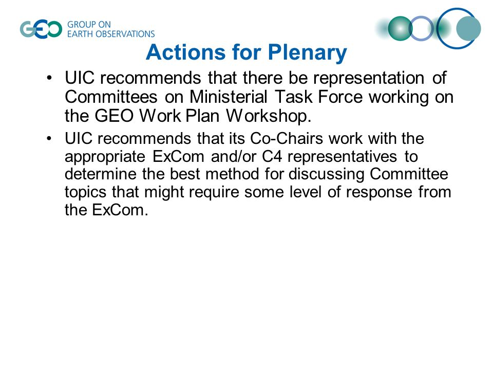 Actions for Plenary UIC recommends that there be representation of Committees on Ministerial Task Force working on the GEO Work Plan Workshop.