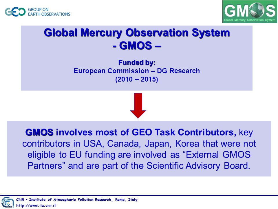 Global Mercury Observation System - GMOS – Funded by: Global Mercury Observation System - GMOS – Funded by: European Commission – DG Research (2010 –