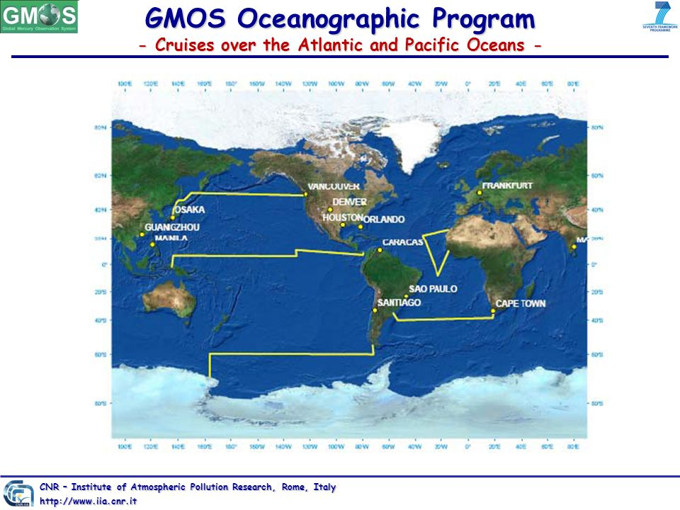 GMOS Oceanographic Program - Cruises over the Atlantic and Pacific Oceans - CNR – Institute of Atmospheric Pollution Research, Rome, Italy http://www.