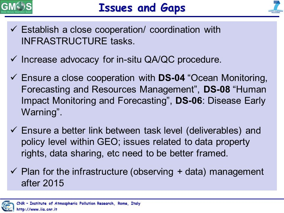 Issues and Gaps Establish a close cooperation/ coordination with INFRASTRUCTURE tasks. Increase advocacy for in-situ QA/QC procedure. Ensure a close c