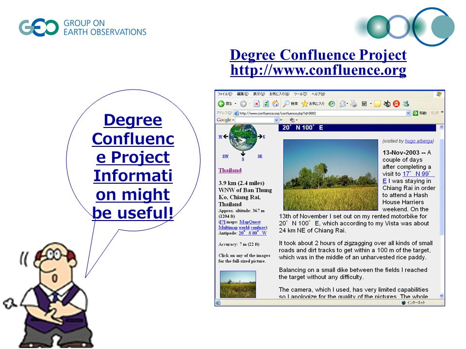 Degree Confluenc e Project Informati on might be useful! Degree Confluence Project http://www.confluence.org