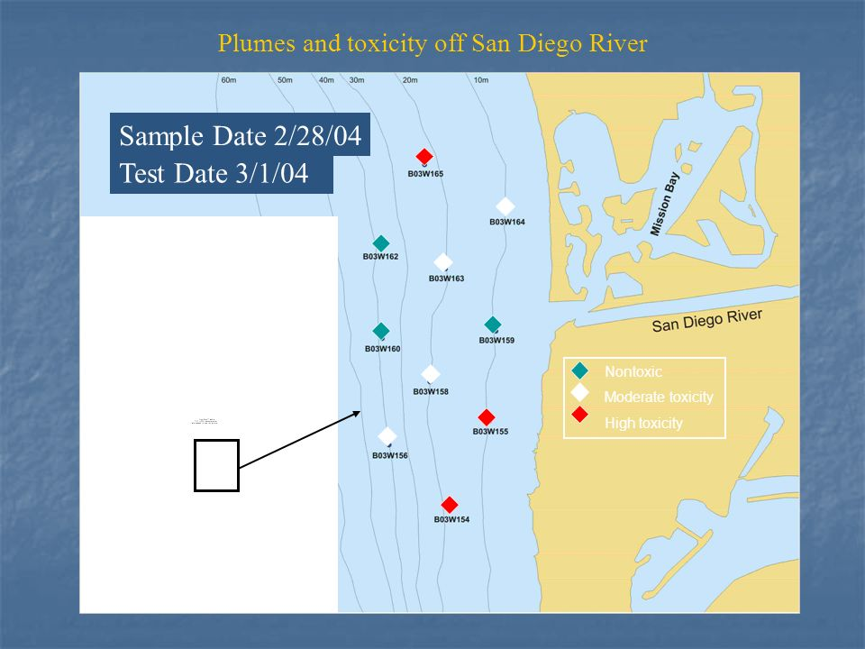 Nontoxic Moderate toxicity High toxicity Sample Date 2/28/04 Test Date 3/1/04 Plumes and toxicity off San Diego River