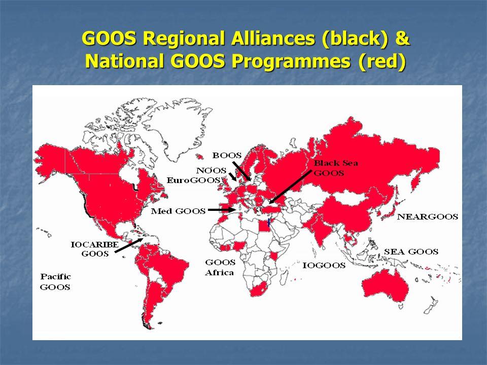 GOOS Regional Alliances (black) & National GOOS Programmes (red)