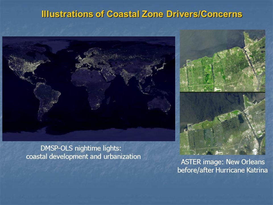 DMSP-OLS nightime lights: coastal development and urbanization ASTER image: New Orleans before/after Hurricane Katrina Illustrations of Coastal Zone Drivers/Concerns