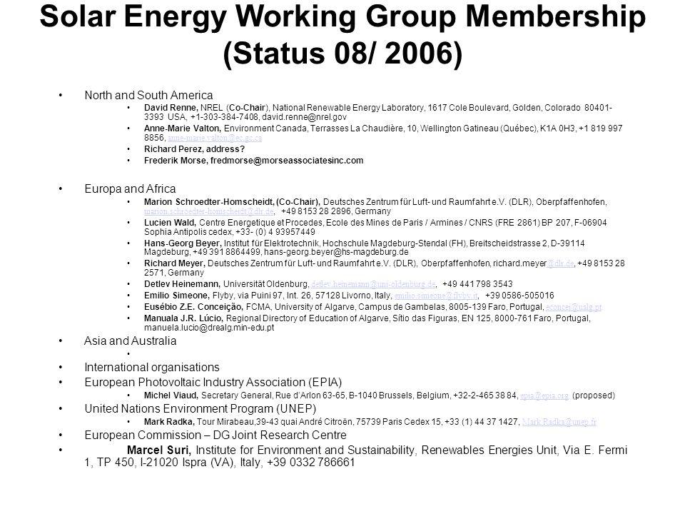 Ocean Energy Working Group Membership (Status 08/ 2006) North and South America Europa and Africa Thierry Ranchin, Ecole des Mines de Paris (ENSMP), Sophia Antipolis, thierry.ranchin@ensmp.fr, +33 4 93 95 74 53, France thierry.ranchin@ensmp.fr Han Wensink, (Co-Chair), ARGOSS, PT Marknesse, wensink@argoss.nl, +31 527 242 299, The Netherlands wensink@argoss.nl Michel Paillard, (to be confimed) IFREMER, Brest, michel.paillard@ifremer.fr, +33 (0) 2 98 22 41 25, France michel.paillard@ifremer.fr Antonio Sarmento (to be confirmed), Technical University of Lisbon antonio.sarmento@ist.utl.pt, +???, Portugal antonio.sarmento@ist.utl.pt Asia and Australia xxx International organisations Other interested parties: European Ocean Energy Association Alla Weinstein (Co-Chair confirmed ???), President of EU-OEA