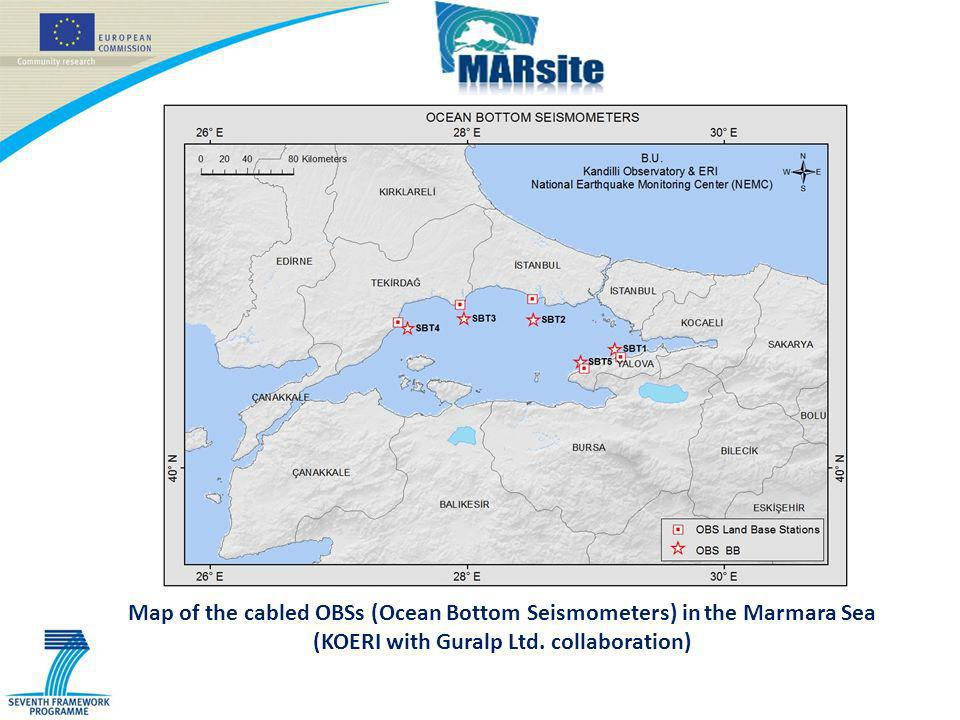 Map of the cabled OBSs (Ocean Bottom Seismometers) in the Marmara Sea (KOERI with Guralp Ltd.