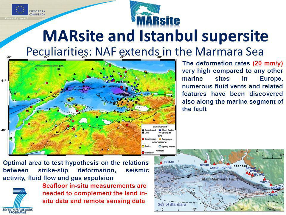 MARsite and Istanbul supersite Peculiarities: NAF extends in the Marmara Sea The deformation rates (20 mm/y) very high compared to any other marine sites in Europe, numerous fluid vents and related features have been discovered also along the marine segment of the fault Optimal area to test hypothesis on the relations between strike-slip deformation, seismic activity, fluid flow and gas expulsion Seafloor in-situ measurements are needed to complement the land in- situ data and remote sensing data