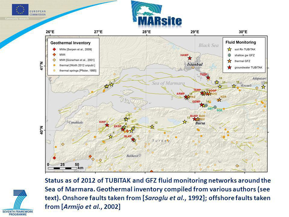 Status as of 2012 of TUBITAK and GFZ fluid monitoring networks around the Sea of Marmara.