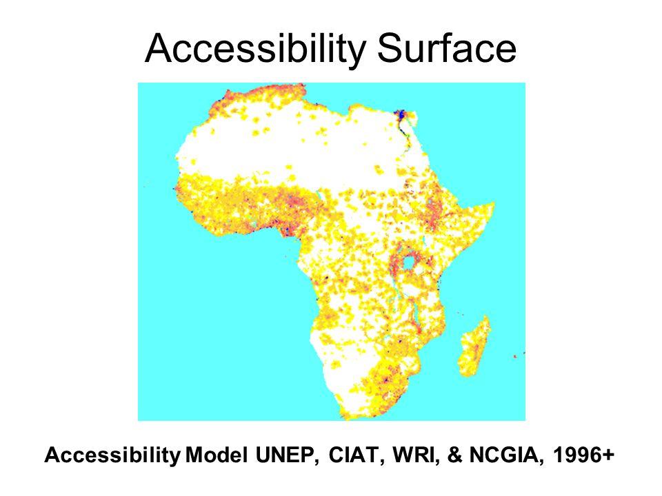 Accessibility Surface Accessibility Model UNEP, CIAT, WRI, & NCGIA, 1996+