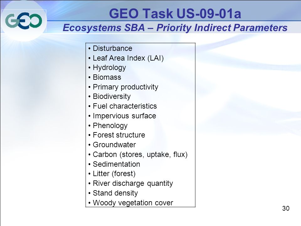 GEO Task US-09-01a Ecosystems SBA – Priority Indirect Parameters Disturbance Leaf Area Index (LAI) Hydrology Biomass Primary productivity Biodiversity Fuel characteristics Impervious surface Phenology Forest structure Groundwater Carbon (stores, uptake, flux) Sedimentation Litter (forest) River discharge quantity Stand density Woody vegetation cover 30