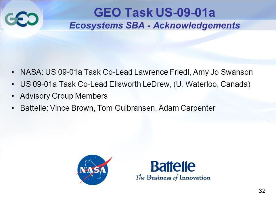 NASA: US 09-01a Task Co-Lead Lawrence Friedl, Amy Jo Swanson US 09-01a Task Co-Lead Ellsworth LeDrew, (U.