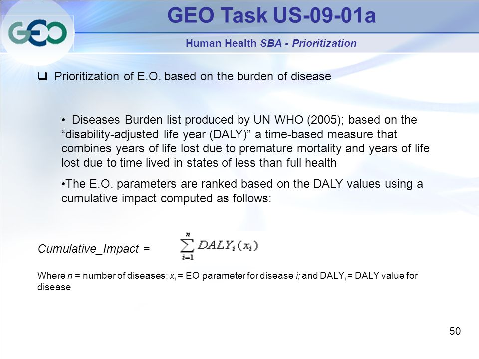 GEO Task US-09-01a Human Health SBA - Prioritization Prioritization of E.O. based on the burden of disease Diseases Burden list produced by UN WHO (20