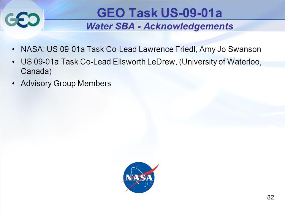 NASA: US 09-01a Task Co-Lead Lawrence Friedl, Amy Jo Swanson US 09-01a Task Co-Lead Ellsworth LeDrew, (University of Waterloo, Canada) Advisory Group Members GEO Task US-09-01a Water SBA - Acknowledgements 82
