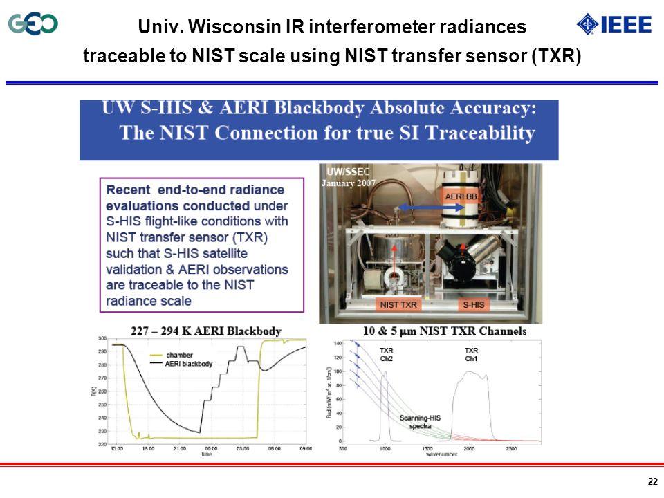 22 Univ. Wisconsin IR interferometer radiances traceable to NIST scale using NIST transfer sensor (TXR)