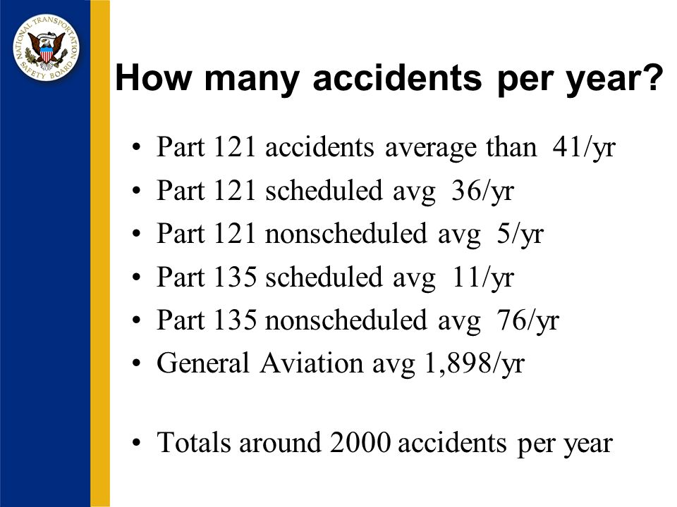 How many accidents per year.