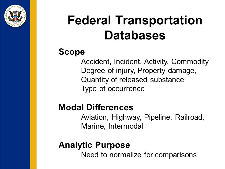 Federal Transportation Databases Scope Accident, Incident, Activity, Commodity Degree of injury, Property damage, Quantity of released substance Type of occurrence Modal Differences Aviation, Highway, Pipeline, Railroad, Marine, Intermodal Analytic Purpose Need to normalize for comparisons