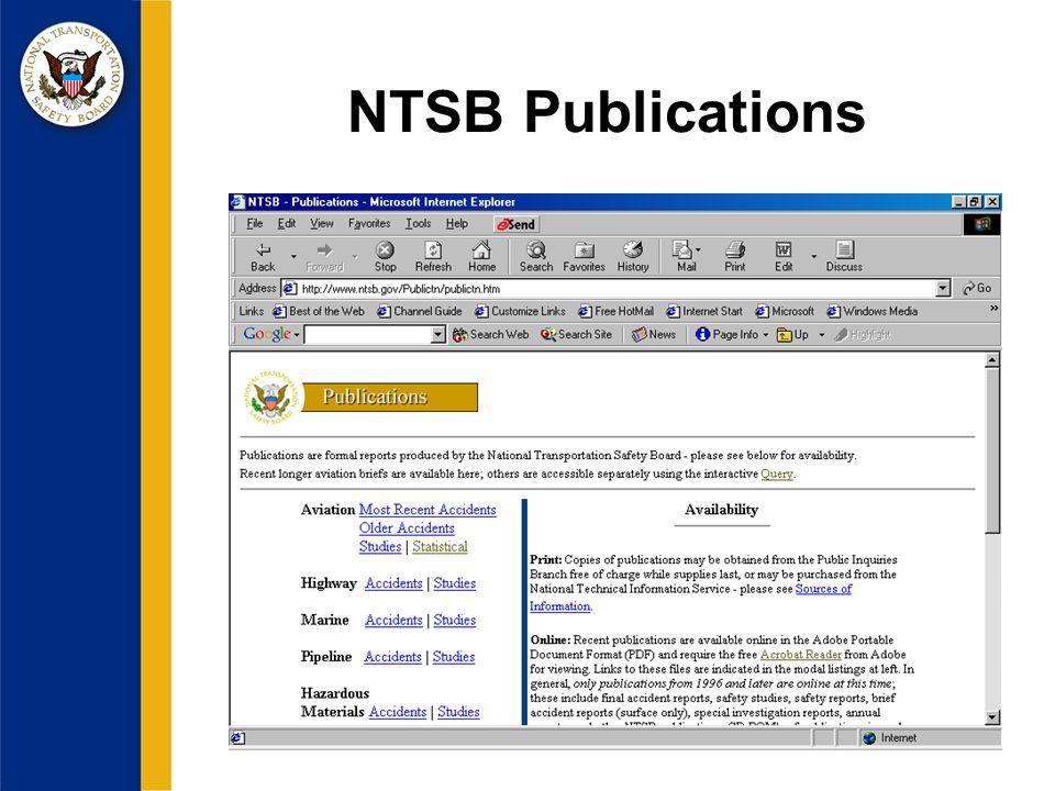 NTSB Publications
