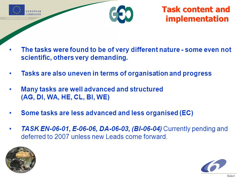 Slide 4 The tasks were found to be of very different nature - some even not scientific, others very demanding.