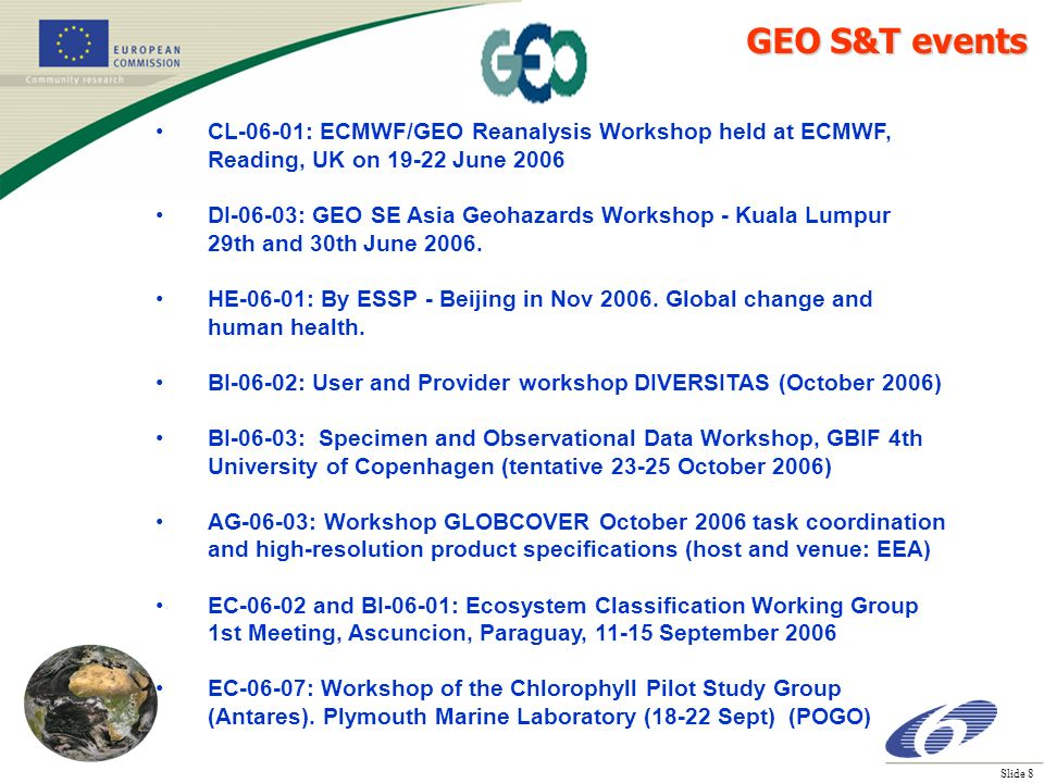 Slide 8 CL-06-01: ECMWF/GEO Reanalysis Workshop held at ECMWF, Reading, UK on 19-22 June 2006 DI-06-03: GEO SE Asia Geohazards Workshop - Kuala Lumpur 29th and 30th June 2006.