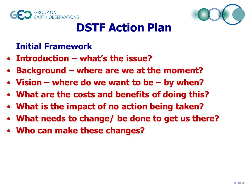 DSTF Action Plan Initial Framework Introduction – whats the issue.