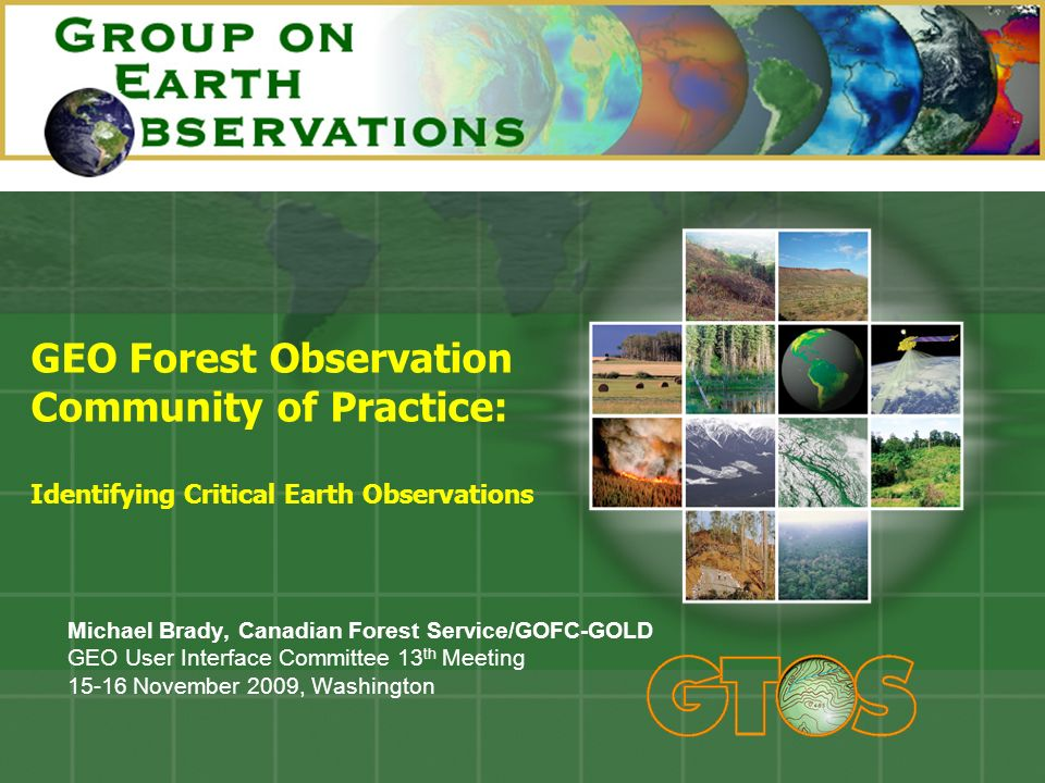 GEO Forest Observation Community of Practice: Identifying Critical Earth Observations Michael Brady, Canadian Forest Service/GOFC-GOLD GEO User Interface Committee 13 th Meeting 15-16 November 2009, Washington