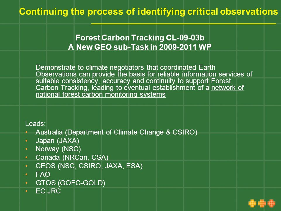 Continuing the process of identifying critical observations Forest Carbon Tracking CL-09-03b A New GEO sub-Task in 2009-2011 WP Demonstrate to climate negotiators that coordinated Earth Observations can provide the basis for reliable information services of suitable consistency, accuracy and continuity to support Forest Carbon Tracking, leading to eventual establishment of a network of national forest carbon monitoring systems Leads: Australia (Department of Climate Change & CSIRO) Japan (JAXA) Norway (NSC) Canada (NRCan, CSA) CEOS (NSC, CSIRO, JAXA, ESA) FAO GTOS (GOFC-GOLD) EC JRC